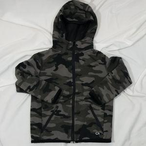 Gap fit boys Gray Camoflauge print hoodie sz xs